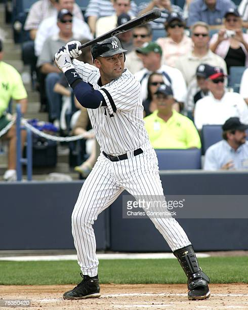 Yankees shortstop Derek Jeter waits for a pitch in a spring training game against the Twins on March 1, 2007 at Legends Field in Tampa, Florida