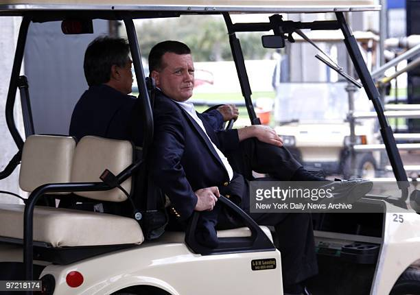 2008 Yankees Spring Training Camp Day8 Yankees Vive President Hank Steinbrenner drives off on a golf cart after watching pitchers in the bullpen