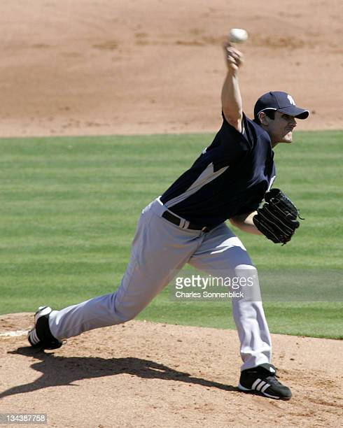 Yankees starting pitcher Carl Pavano throws a pitch in the first inning of a spring training game against the Philadelphia Phillies on March 4, 2007...