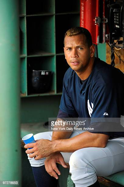Yankees vs Boston Red Sox at Fenway Park., New York Yankees third baseman Alex Rodriguez in the dugout during batting practice