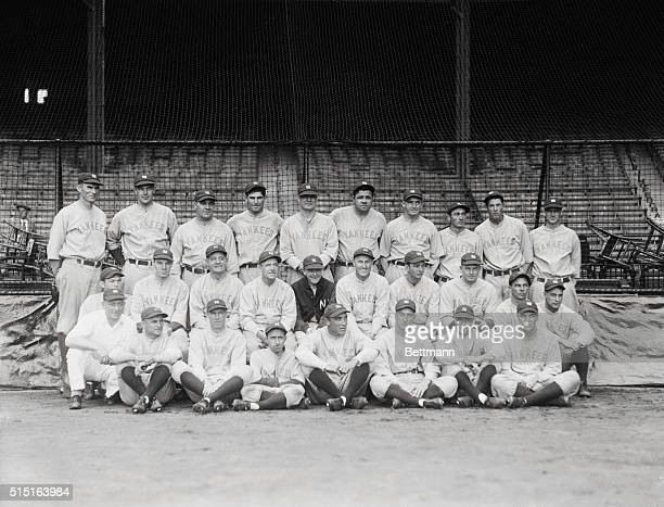 Yankees Win 1928 Pennant. Bronx, New York: Here are the New York Yankees, winner of the 1928 American League Pennant, in their own Yankee Stadium...