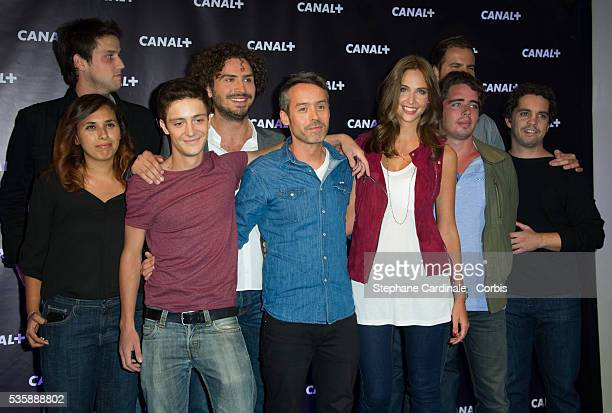 Yann Barthes and 'Le Petit Journal' team attend the Canal Press Conference in Paris