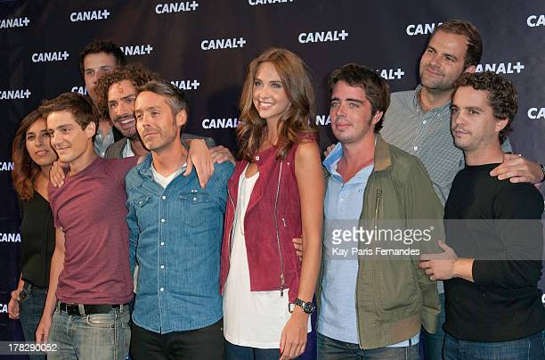 Yann Barthes and Louise Bourgoin at the 'Rentree De Canal ' photocall at Porte De Versailles on August 28 2013 in Paris France