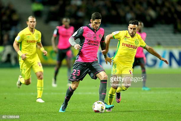 Yann Bodiger of Toulouse and Adrien Thomasson of Nantes during the Ligue 1 match between Fc Nantes and Toulouse Fc at Stade de la Beaujoire on...
