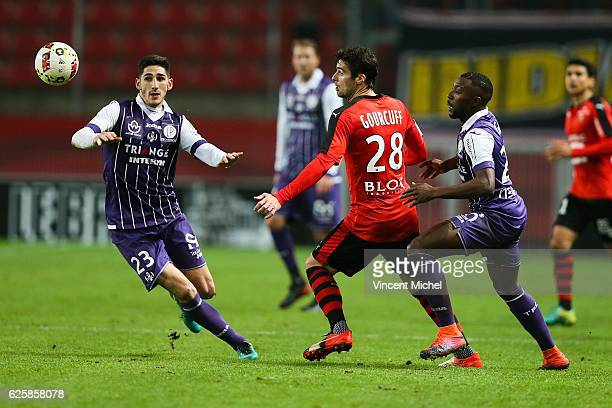 Yann Bodiger of Toulouse and Yoann Gourcuff of Rennes during the French Ligue 1 match between Rennes and Toulouse at Roazhon Park on November 25,...