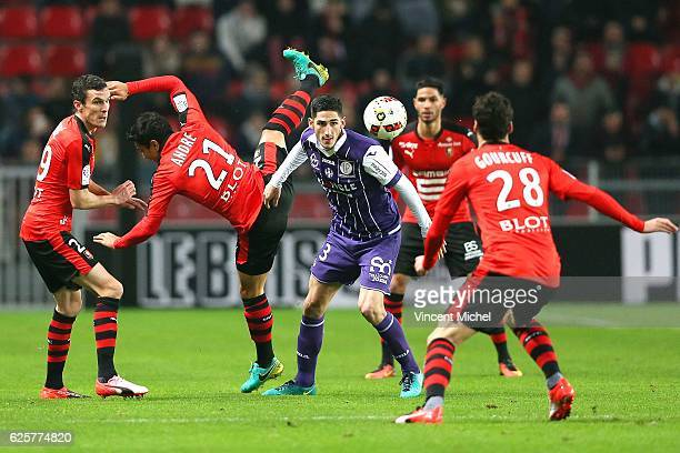 Yann Bodiger of Toulouse during the French Ligue 1 match between Rennes and Toulouse at Roazhon Park on November 25 2016 in Rennes France