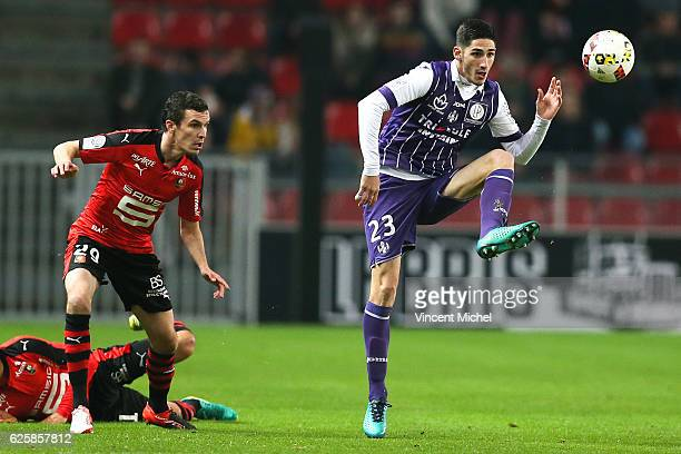 Yann Bodiger of Toulouse during the French Ligue 1 match between Rennes and Toulouse at Roazhon Park on November 25, 2016 in Rennes, France.