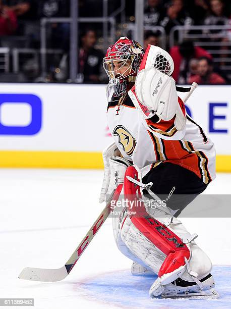 Yann Danis of the Anaheim Ducks in goal during a preseason game against the Los Angeles Kings at Staples Center on September 28 2016 in Los Angeles...
