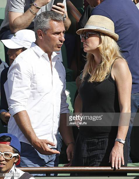 Yann Delaigue and Astrid Bard attend day 11 of the French Open 2015 at Roland Garros stadium on June 3 2015 in Paris France