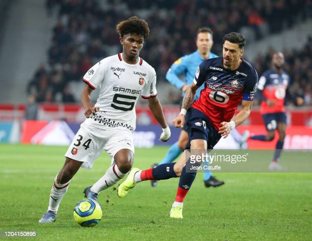 Yann Gboho of Stade Rennais, Jose Fonte of Lille during the Ligue 1 match between Lille OSC and Stade Rennais at Stade Pierre Mauroy on February 4,...
