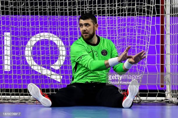 Yann Genty of Paris Saint-Germain looks dejected during the VELUX EHF Champions League FINAL4 semi-final between Aalborg Handbold v Paris...