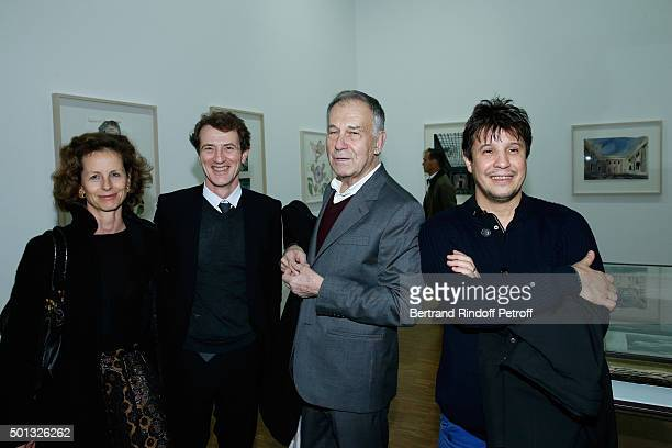Yann Gerardin with his wife Pascale Gerardin Galerist Yvon Lambert and Artist Adel Abdessemed attend the Anselm Kiefer's Exhibition Press Preview...