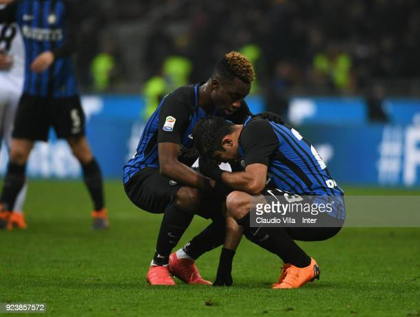 Yann Karamoh and Eder of FC Internazionale react during the serie A match between FC Internazionale and Benevento Calcio at Stadio Giuseppe Meazza on...
