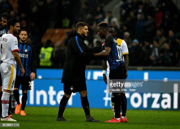Yann Karamoh and Mauro Icardi of FC Internazionale during the serie A match between FC Internazionale and Benevento Calcio at Stadio Giuseppe Meazza...