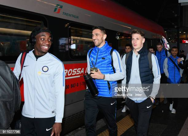 Yann Karamoh Matias Vecino and Andrea Pinamonti of FC Internazionale boards the train for Ferrara on January 27 2018 in Milan Italy