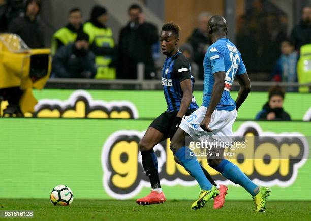 Yann Karamoh of FC Internazionale and Kalidou Koulibaly of SSC Napoli compete for the ball during the serie A match between FC Internazionale and SSC...