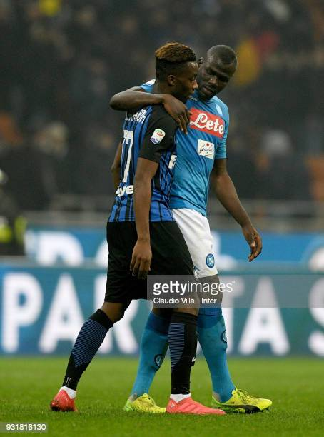 Yann Karamoh of FC Internazionale and Kalidou Koulibaly of SSC Napoli chat during the serie A match between FC Internazionale and SSC Napoli at...