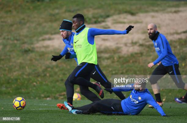 Yann Karamoh of FC Internazionale in action during the FC Internazionale training session at Suning Training Center at Appiano Gentile on December 1...