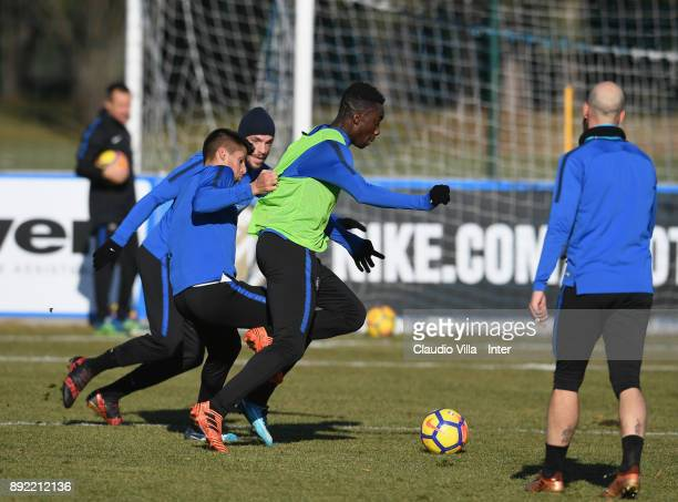 Yann Karamoh of FC Internazionale in action during the FC Internazionale training session at Suning Training Center at Appiano Gentile on December 14...