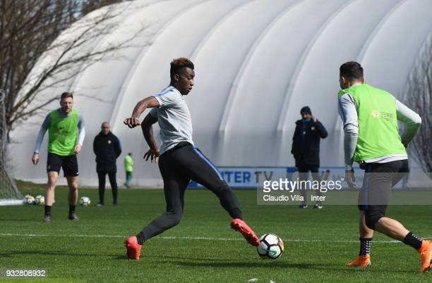 Yann Karamoh of FC Internazionale in action during the FC Internazionale training session at the club's training ground Suning Training Center in...