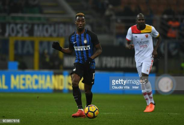 Yann Karamoh of FC Internazionale in action during the serie A match between FC Internazionale and Benevento Calcio at Stadio Giuseppe Meazza on...