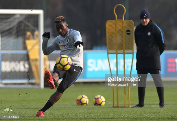 Yann Karamoh of FC Internazionale kicks a ball during the FC Internazionale training session at the club's training ground Suning Training Center in...