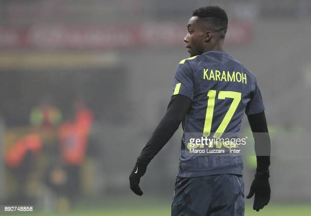 Yann Karamoh of FC Internazionale looks on during the TIM Cup match between FC Internazionale and Pordenone at Stadio Giuseppe Meazza on December 12...