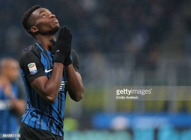 Yann Karamoh of FC Internazionale Milano reacts during the Serie A match between FC Internazionale and AC Chievo Verona at Stadio Giuseppe Meazza on...