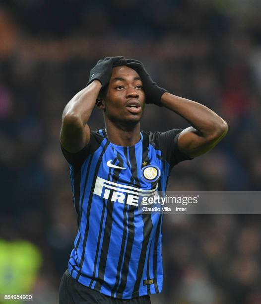 Yann Karamoh of FC Internazionale reacts during the Serie A match between FC Internazionale and AC Chievo Verona at Stadio Giuseppe Meazza on...