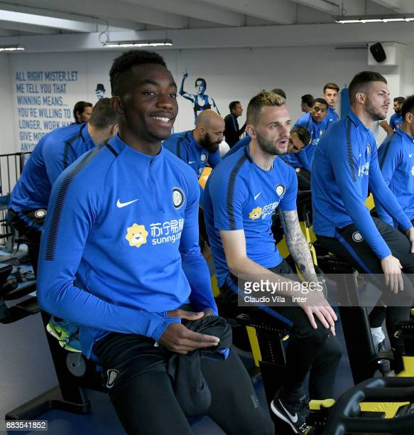 Yann Karamoh of FC Internazionale smiles during the FC Internazionale training session at Suning Training Center at Appiano Gentile on December 1...