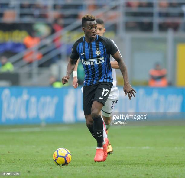 Yann Karamoh of Inter player and Adam Masina of Bologna player during the match valid for Italian Football Championships Serie A 20172018 between FC...