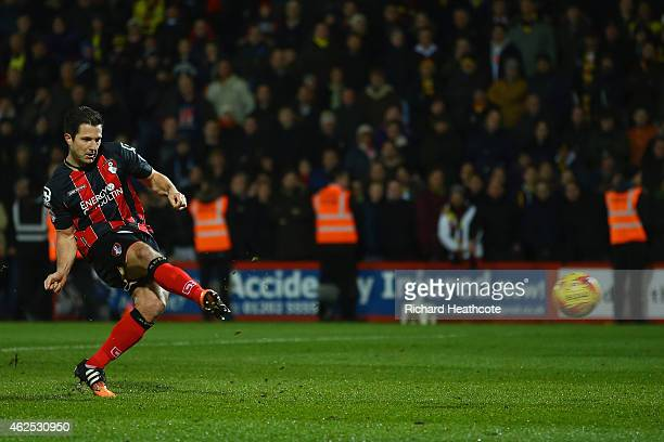 Yann Kermorgant of Bournemouth scores the opening goal from the penalty spot during the Sky Bet Championship match between AFC Bournemouth and...