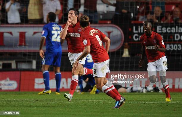 Yann Kermorgant of Charlton celebrates scoring their second goal during the npower Championship match between Charlton Athletic and Leicester City at...