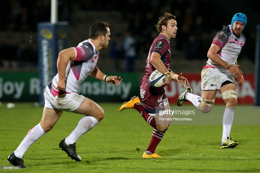 Yann Lesgourgues (C) for Union Bordeaux Begles in action during the European Rugby Champions Cup match between Union Bordeaux Begles and Ospreys at Stade Chaban-Delmas on December 19, 2015 in Bordeaux, France.