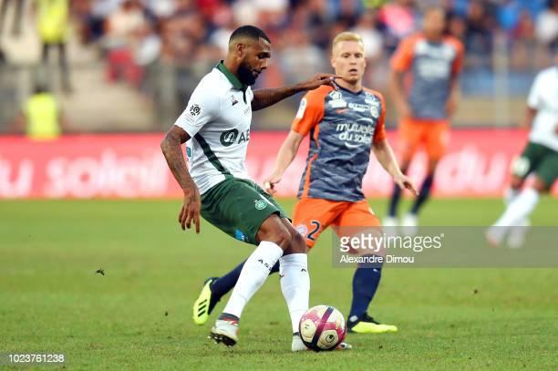 Yann M Vila MVila of Saint Etienne and Florent Mollet of Montpellier during Ligue 1 match between Montpellier and Saint Etienne on August 25, 2018 in...
