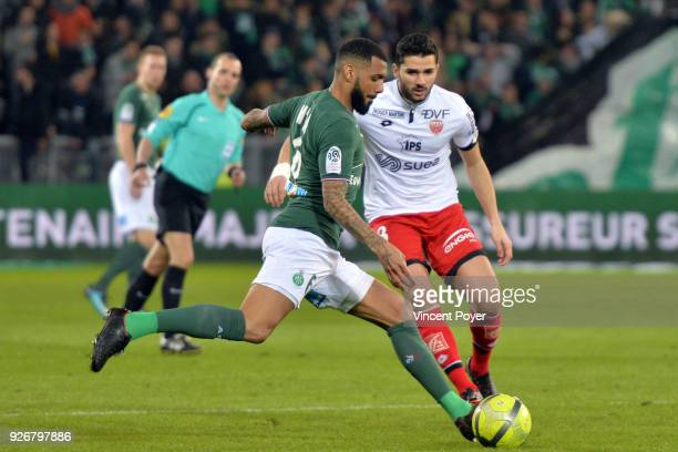 Yann M'VILA of ASSE and Mehdi ABEID of DFCO during the Ligue 1 match between AS SaintEtienne and Dijon FCO at Stade GeoffroyGuichard on March 3 2018...
