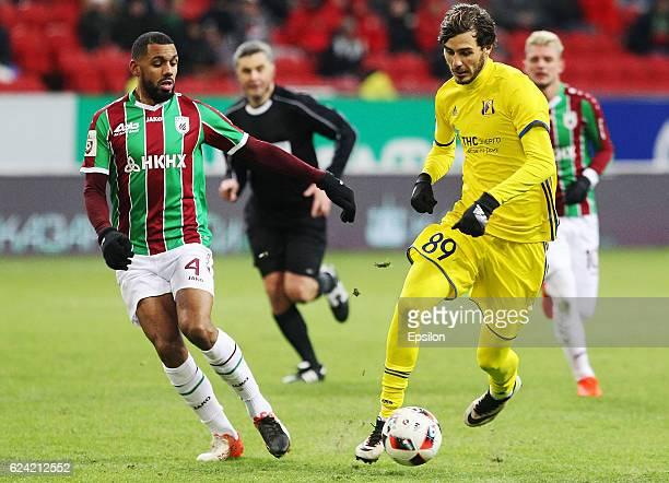 Yann M'Vila of FC Rubin Kazan vies for the ball with Aleksandr Yerokhin FC Rostov RostovOnDon during the Russian Premier League match between FC...