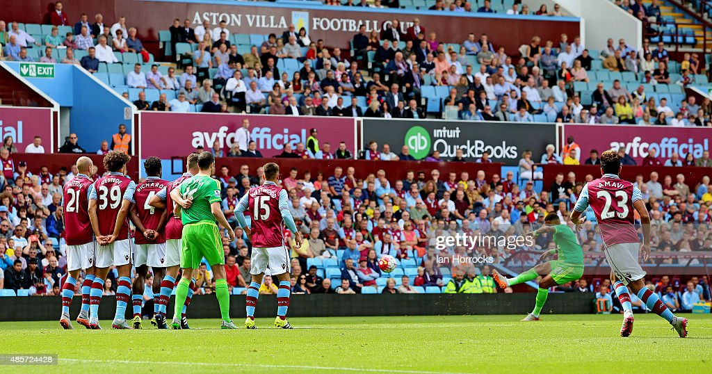 Yann M'Vila of Sunderland (R2) scores the opening goal during the Barclays Premier League match between Aston Villa and Sunderland on August 29, 2015 at Villa Park in Birmingham, England.