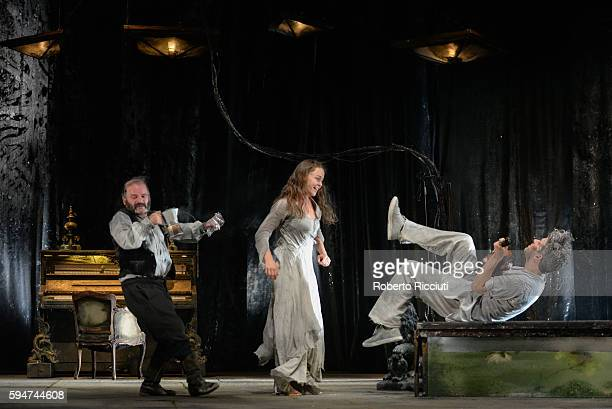 Yann Nedelec Valerie Doucet and James Thierree of Compagnie du Hanneton perform on stage 'The Toad Knew' during the Edinburgh International Festival...