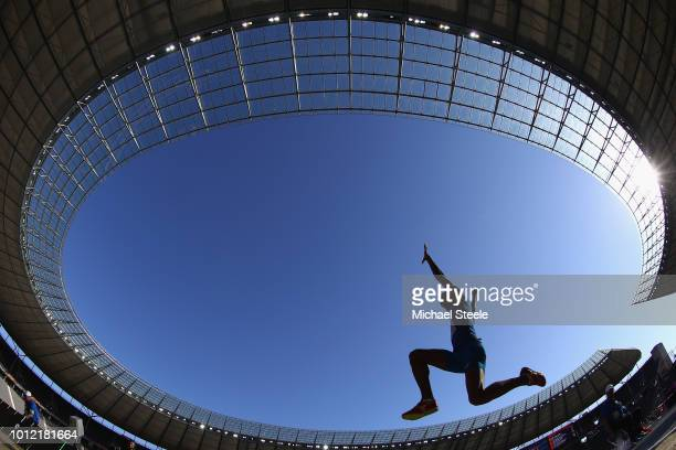 Yann Randrianasolo of France competes in the Long Jump Men qualifiction day ahead of the 24th European Athletics Championships at Olympiastadion on...