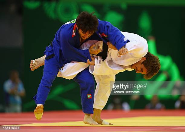 Yann Siccardi of Monaco and Arif Bagirov of Belarus compete in the Men's Judo 60kg Round of 32 match during day thirteen of the Baku 2015 European...