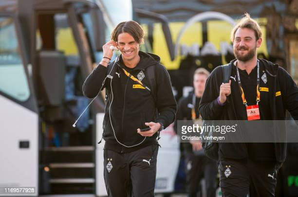 Yann Sommer and Assistant Coach Rene Maric of Borussia Moenchengladbach are seen before the Group J UEFA Europa League match between Borussia...