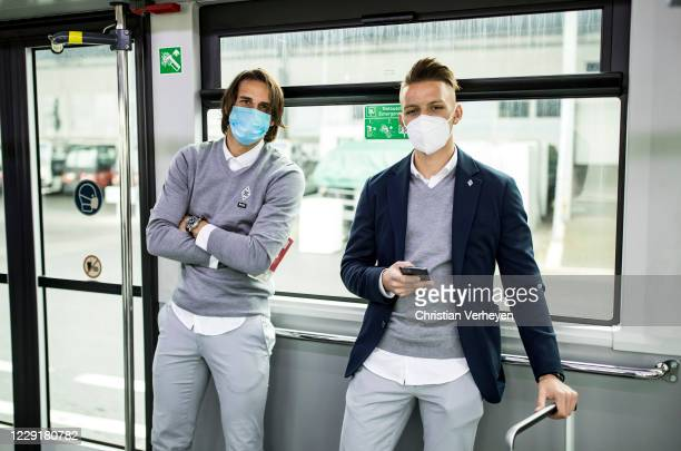 Yann Sommer and Hannes Wolf of Borussia Moenchengladbach are seen during Borussia Moenchengladbach departs to the Group B UEFA Champions League match...
