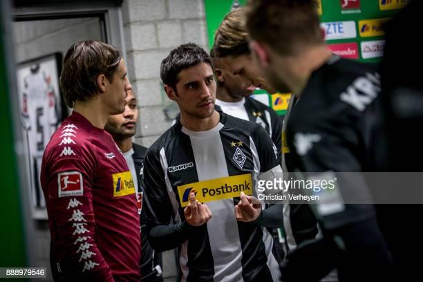 Yann Sommer and Lars Stindl of Borussia Moenchengladbach prior the Bundesliga match between Borussia Moenchengladbach and FC Schalke 04 at...