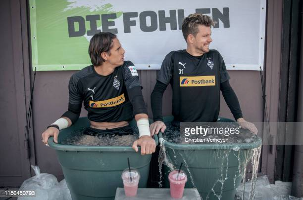 Yann Sommer and Max Gruen cool down after a training session at the Borussia Moenchengladbach Training Camp on July 19 2019 in RottachEgern Germany
