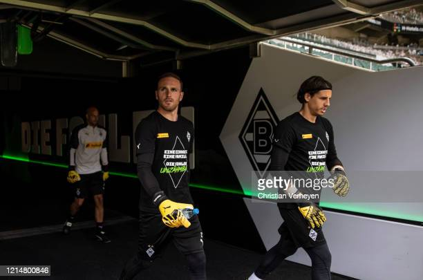 Yann Sommer and Tobias Sippel of Borussia Moenchengladbach are seen before the Bundesliga match between Borussia Moenchengladbach and Bayer 04...