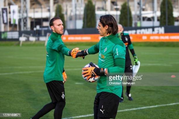 Yann Sommer and Tobias Sippel of Borussia Moenchengladbach are seen during a training session of Borussia Moenchengladbach at BorussiaPark on October...