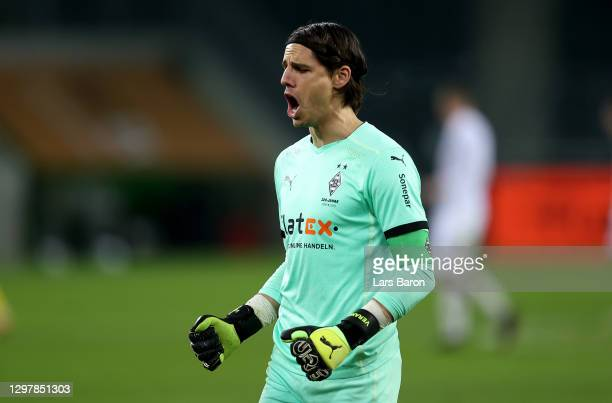 Yann Sommer, goalkeeper of Gladbach celebrates after the Bundesliga match between Borussia Moenchengladbach and Borussia Dortmund at Borussia-Park on...
