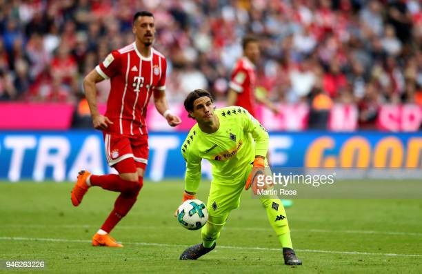 Yann Sommer goalkeeper of Moenchengladbach controlls the ball during the Bundesliga match between FC Bayern Muenchen and Borussia Moenchengladbach at...