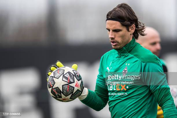 Yann Sommer in action during a team training session of Borussia Moenchengladbach ahead the UEFA Champions League Round Of 16 Leg One match at...